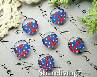 Glass Cabochon, 8mm 10mm 12mm 14mm 16mm 20mm 25mm 30mm Round Handmade photo glass Cabochons  (Anchor) -- BCH211P