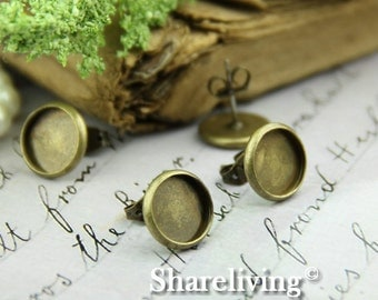 10pcs Antique Solid Brass Earring Posts With Round 10mm Tray EA330