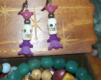 Gothic Flora -- Lucite Flower and Skull Earrings