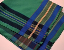 Vintage Scarf Berkshire Green and Blue  20 inch Sq