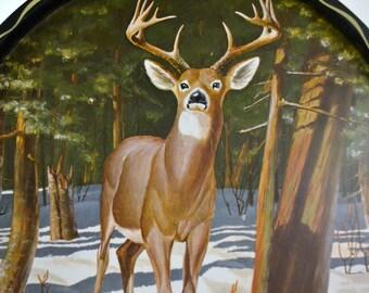 Vintage Deer Serving Tray Black Metal