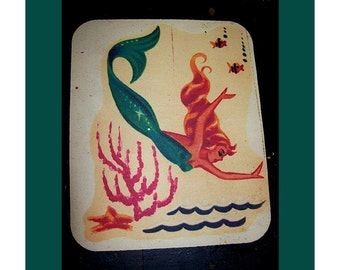 mermaid mouse pad retro 1950's pin up girl rockabilly vintage nautical kitsch