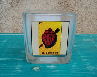 Loteria candle holder retro Mexico votive vintage mermaid devil Mexicana kitsch