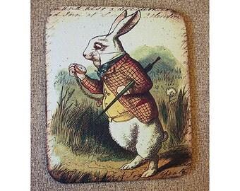 Alice in Wonderland mouse pad retro vintage victorian fairy tale John Tenniel white rabbit