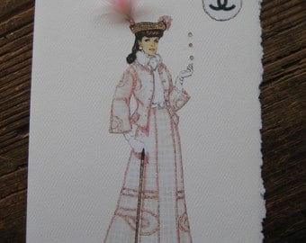 1906 Coco Chanel first design fashion illustration card