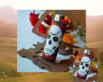 Bead PATTERN Skull Lighter Cover Peyote Or Brick stitch