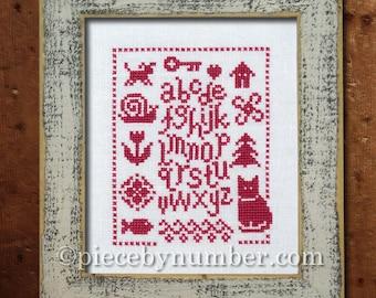 Un Petit Exemplaire cross stitch sampler, cross stitch chart, alphabet sampler, needlework pattern, rustic cabin decor, quick and easy