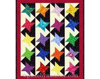 Stars of Glory Quilt Pattern plus bonus mini-quilt pattern, instant download PDF star quilt patterns, star patterns, miniature quilt pattern