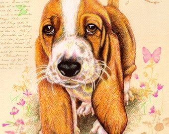 Basset Hound Greeting Card. I need you so much closer  5 x 7 inches