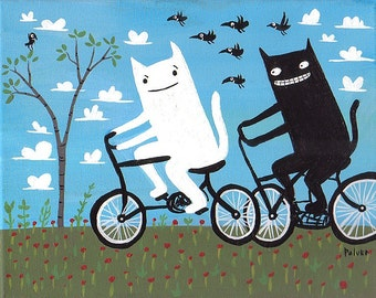 Cats on Bikes Art Print 5x7 - White Cat, Grey Tabby Tiger (Black Cat also available) Folk Art