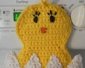 Baby Chick Pot holder Hot pad Yellow Chicken Hatching from Egg