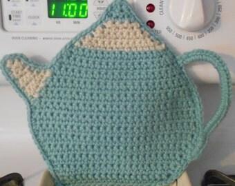 Tea Pot Pot Holder Hot Pad Trivet Crocheted in Seafoam and cream