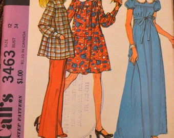 Vintage 1970's Sewing Pattern McCall's 3463 Maternity Dress or Smock and Pants Bust 34 Uncut  Complete