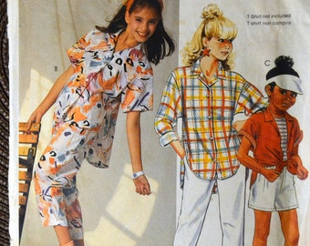 Sewing Pattern McCall's 2464 Girls' Shirt Pants Shorts Tops Size 14 Chest 32 inches Complete