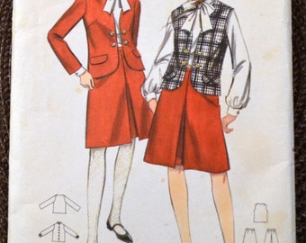 Vintage 1960's Sewing Pattern Butterick 3697 Teens'  Jackets Skirts  Bust 32  inches Complete