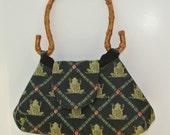 Frog Purse , Women's Handmade Handbag , Ladies Handbag , Casual Purse , Black Background Green Frogs Handbag