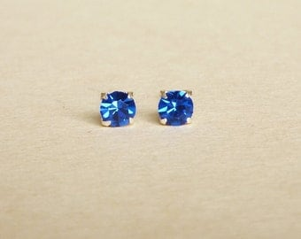 4 mm Small Royal Blue Crystal 925 Sterling Silver Stud Earrings - Bridesmaid Gift - Gift for Her - Hypoallergenic  Second Hole Earrings