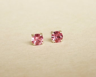 4 mm Small Pink Rose Crystal 925 Sterling Silver Stud Earrings - Bridesmaid Gift  Hypoallergenic Earrings Second Hole Earrings