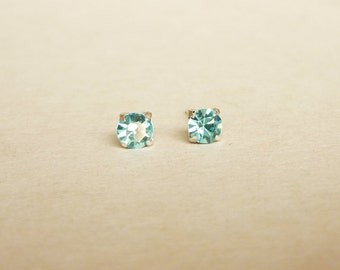 4 mm Small Aquamarine Blue Crystal 925 Sterling Silver Stud Earrings - Bridesmaid Gift - Gift for Her - Hypoallergenic Earrings