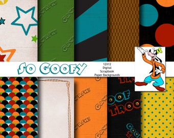 Disney Goofy Inspired 12x12 Digital Paper Backgrounds for Digital Scrapbooking, Party Supplies, etc -INSTANT DOWNLOAD -