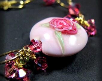 Pink Flower Rosebud Flower Bracelet Charm Bracelet, Crystal Cluster Bracelet, Wire Wrapped 14k Gold Filled