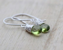 Peridot Earrings In Sterling SIlver, Gold or Rose Gold Fill, Green Gemstone Drops, August Birthstone
