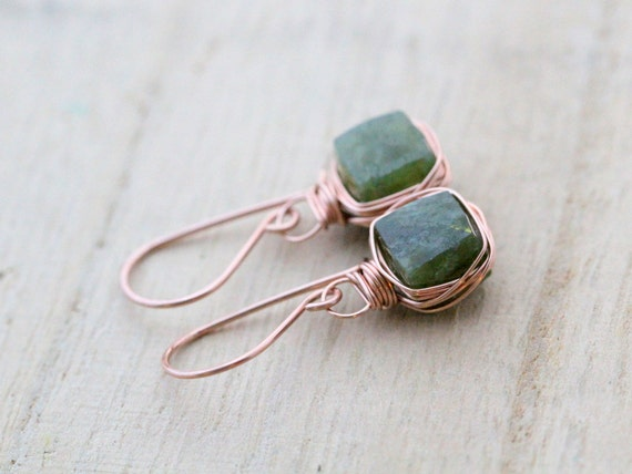 Vesuvianite Rose Gold Earrings, Bezel Style Wire Wrapped Moss Green Gemstones, Fall Fashion