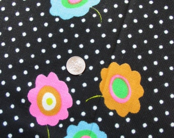 Vintage 1960s 1970s Big Pink Green Daisy Dot Flower Power Fluorescent 1 Yard