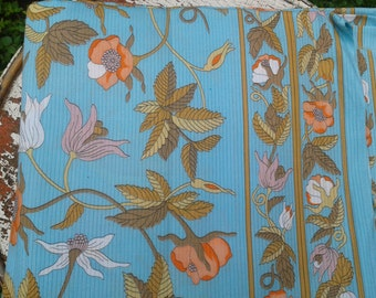 Vintage 1970s 1960s Poppies on Vines with Turquoise Ribbed Background Bark Cloth