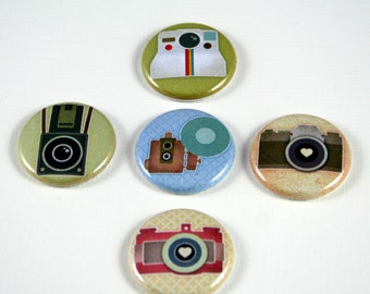 One Inch Vintage Camera Buttons- Pinback, Flair, Hollow Back, Flat Back Button Set #1