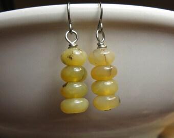 Yellow Earrings - Yellow Opal - Stone Earrings -  Earthy Earrings - Beaded Earrings - Autumn Moss Opal Sterling Silver Natural Element