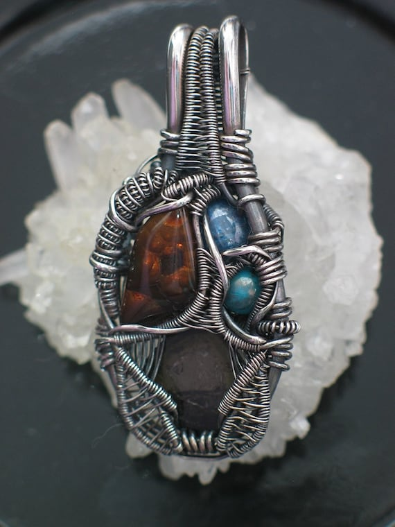 Fire Agate, Kyanite, Turquoise, and Tourmaline Oxidized Silver Wire Wrap Pendant