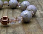 Lilac Vintage Lucite Modern Beaded Bracelet / Gold Speckled / Lightweight / Pastel / Glam /On Trend