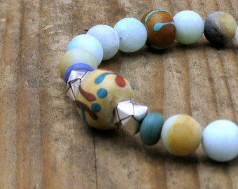 Aqua Agate Boho Beaded Bracelet, Boho Southwestern Stretch Bracelet, Tribal, for Her Under 150