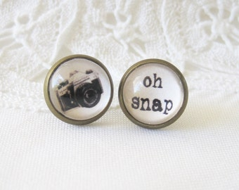 Camera Mismatched Antique Brass Post Earrings