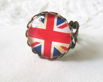 Union Jack British Flag Antique Brass Adjustable Ring