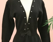 Tapered Waist Long Black Cardigan with Bow and Tiny Pearl Embellishments