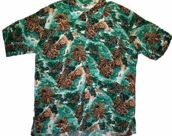 Vintage Green Palm Tree Print Hawaiian Shirt Mens Size Large