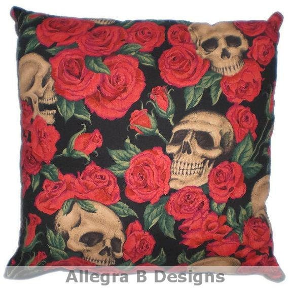 Gothic Skulls and Roses Decorative Throw Pillow by AllegraB