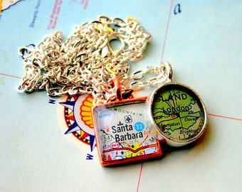 Square Mini Map Pendant Custom Order Option:  You Name Your City or Hometown, In Silver Pewter, Gold or Copper