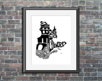 Quebec  Canada - typography map art print 11x14 - customizable poster custom wedding engagement graduation gift anniversary wall decor