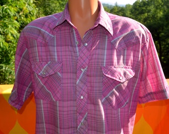 vintage 70s shirt plaid WESTERN pink pastel short sleeve pearl snaps button down cowboy Large XL 80s purple