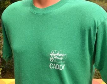 vintage 70s t-shirt golf CADDY mayflower indianapolis LPGA funny humor preppy green tee shirt Large soft thin
