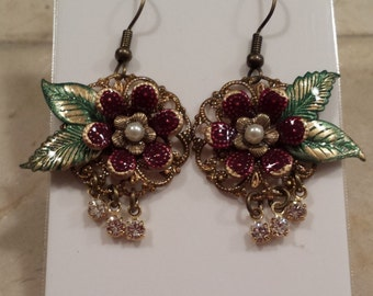 Floral Earrings - Red with Crystals