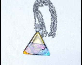 Summer Sale - Irridescent Glass Pendant on Silvertone  Chain