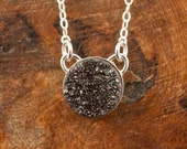 Sparkling Starry Night Black Druzy and Sterling Silver Necklace