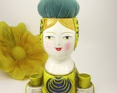 1960s Folk Art Papier Mache Lady Pin Cushion and Sewing Supplies Caddy.  Also could be used as a lipstick holder.