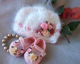 Booties and Hat -Creme Brulee Shabby Chic Luxury for Preemie
