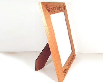 Wooden Dog Picture Frame - Choose Your Size - Custom Engraved
