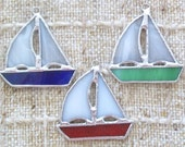 Reserved for Leigh 2 Sailboat ornament sets of 3 stained glass sailing ship ornaments